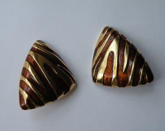 Gold Tone Brown Enamel Zebra Print Clip - on earrings HUGE