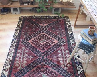 vintage Persian runner rug, earthy rustic geometric rug, happy bohemian wool rug