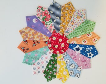 4 Dresden Plate Scrappy Patchwork Quilt Blocks 10 inches 1930's Reproduction Feed Sack Fabrics