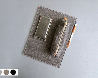 iPad Pro 10.5 / 12.9 / 9.7 case felt sleeve case with leather Apple Pencil holder. Free worldwide shipping.