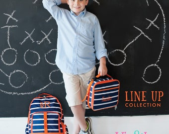 Personalized Monogrammed Orange Navy White Lineup stripe Backpack and attachable Lunch Bag Tote Box -- Free Monogramming-- FAST TURNAROUND