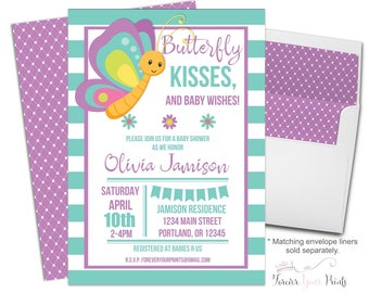 Butterfly Baby Shower Invitation - Butterfly Baby Shower Invite - Butterfly Invitation - Butterfly Baby Sprinkle - Girls Baby Shower Invites