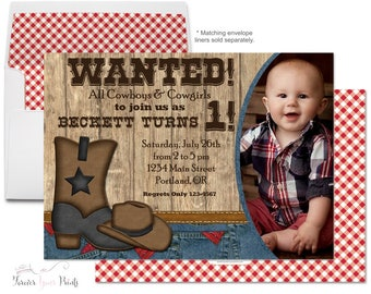 Cowboy Birthday Invitation - Cowboy Party Invitations - Cowboy Invitation - Cowboy Invite - Cowboy Party - Boys 2nd Birthday - 1st Birthday