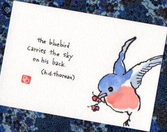 Carry the Sky (Original Etegami Painting, bird art)