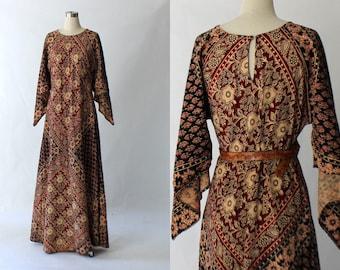 1970s Indian Floral Print Cotton Maxi Dress // 70s Vintage Long Angel Sleeve Ethnic Dress // Medium - Large