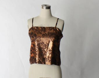 1960s Metallic Camisole Top // 60s Vintage Bronze Floral Spaghetti Strap Tank Top Cami // Small