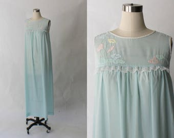 1970s Vintage Hand Embroidered Nightgown // 70s Corhan Noumair Long Light Blue Sleeveless Night Gown // Small - Medium