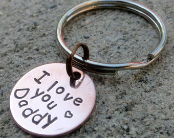 """I love you Daddy - Father's day gift from kids - Textured Hand Stamped 3/4"""" round key chain -Made to order-"""