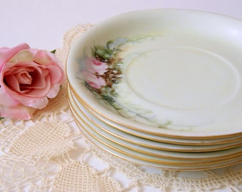 Shabby Roses Tea Party or Wedding Plates. Hand Painted Hutschenreuther Selb. Vintage Floral China. Home Decor. Romantic Cottage Style.