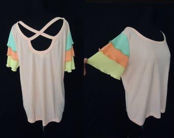 CHA CHA Peach Soft Vintage 1970's Nos Women's Plus Size Shirt XL 2XL 46B
