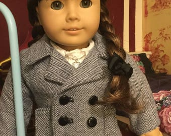 Grey herringbone pea coat fits 18 inch dolls