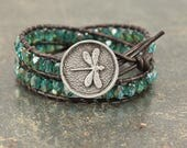 Teal Turquoise Dragonfly Bracelet Bold Boho Dragonfly Jewelry Double Leather Wrap Bracelet