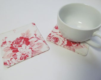 Set Of 2 Fabric Coasters/Pink Flowers