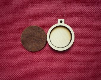 """Mini Round Wooden Embroidery hoop for Necklaces or pendants - 1.50"""" size"""