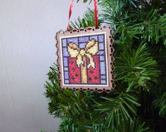 Stain Glass Christmas Gift, Hand Stitched Christmas Ornament