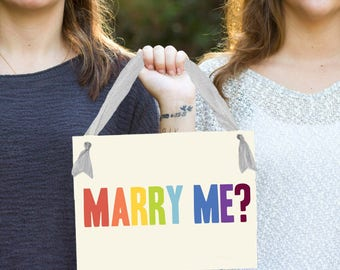 Rainbow Marry Me? Gay Proposal Sign | LGBTQ+ Engagement Banner Lesbian Same Sex Wedding Ideas for Girlfriend | Handmade in USA | 1466 BW