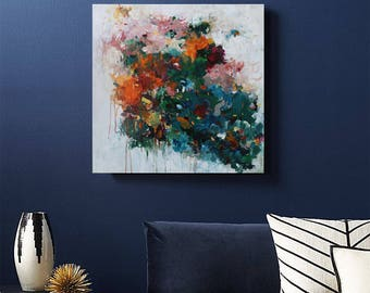Multi color abstract,painting,modern abstract art Canvas Wall art,deep green painting,acrylic painting