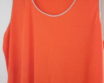 Orange Tank,Shirt, Plus Size, Beach Wear,Summer Wear Round Neck Gift For Her Mom, Women Fashion Outfit,Sleeveless Shirt,Top,Tees