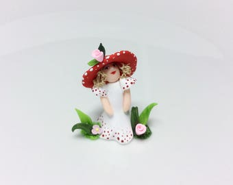 Miniature toadstool fairy doll for 1:48 scale doll house handmade from polymer clay