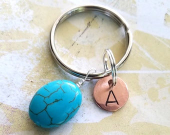 Turquoise & Copper Key Chain