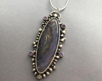 Purple, Dendritic Chalcedony, Amethyst, fine silver, handmade, pendant