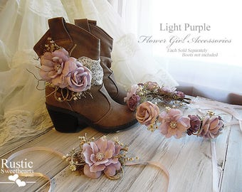 Light Purple ~ Flower Girl Accessories ~ Boot Band ~ Flower Crown ~ Wrist Corsage. Ready to ship, will arrive to you in 3 days priority mail