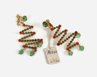 Vintage WEISS Christmas EARRINGS / 1960s Signed Zig Zag Rhinestone Dangle Xmas Tree Clip-Ons