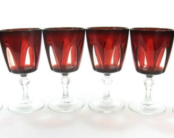 Garnet Color Ruby Red Wine Glasses, Delicate Glass, Elegant Dining Crystal, Made in France, Easter Sunday Dinnerware