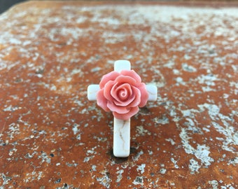 Wild Romance White Turquoise Cross Ring with Pink Rose