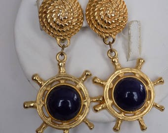 Vintage earrings, retro ship's wheel with blue glass and sailor's rope clip-on earrings, big and bold earrings