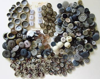 Gray Buttons, Vintage 2 Cup Mixed Lot