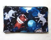 Cats in Space Fabric Zipper Pouch / Pencil Case / Make Up Bag / Clutch