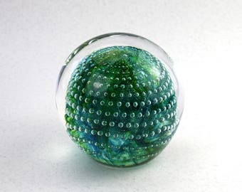 Teal Green Glass Paperweight with Bubbles, One of a Kind, Green Glass , Round Paperweight, Handmade in Sweden