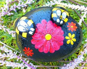 Handpainted Rock Bees on a Rock w/ Flowers Pop Art