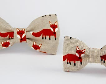 Foxes linen bow tie set , father son bow tie,  matching linen bowtie