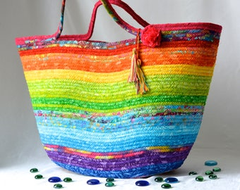 Gorgeous Moses Basket, Handmade Batik Fiber Basket,  Rainbow Batik Tote Bag, Laptop Case, Unique Gift Basket, Pastel Baby Basket