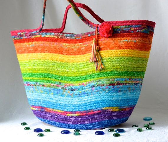 Gorgeous Moses Basket, Handmade Batik Fiber Basket,  Rainbow Batik Tote Bag, Laptop Case, Unique Gift Basket, Pastel Baby Basket