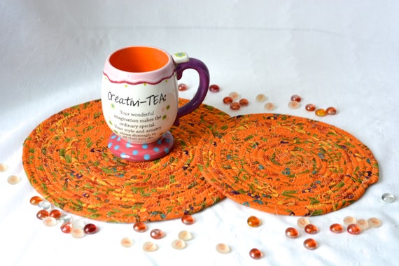 Terra Cotta Trivets, 2 Handmade Tan Floral Mug Rugs, Set of 2 Quilted Trivets, Fall Place Mats, Autumn Coiled Table Runner Set