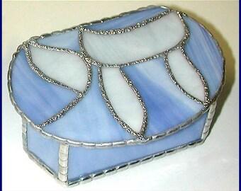 "Jewish Chai Design - Stained Glass Jewelry Box - Jewish Gift Idea, Soft Blue & White Stained Glass - 3 1/2"" x 5"" - G-0044-SB=WH"