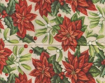 3141 - set of 3 Serivettes paper poinsettia and mistletoe