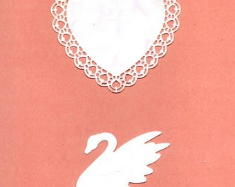 240 - two cutouts heart and Swan for your cards or scrapbooking
