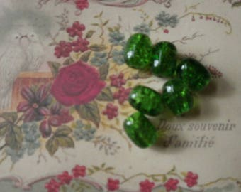 151 set of 10 drum 16/12 mm Green Crackle glass beads