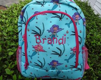 Personalized  Girls MERMAID Backpack,  Mermaid Book Bag, School Backpack
