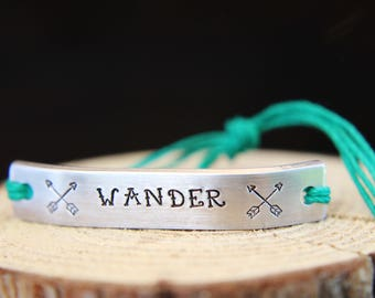 Bracelet WANDER Inspirational ONE Custom Hand Stamped Jewelry Name Tie On Hemp Cord Personalized Friendship Positive Affirmation Travel
