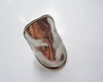 Vintage Long Ring, Sterling, Hammered Silver Ring