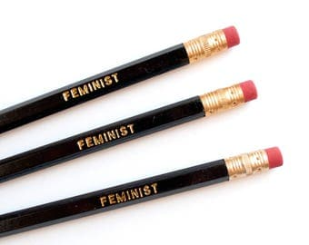 Feminist | Gold Foil Imprinted Pencil Set | Black No. 2 Hex Pencils | Set of 6