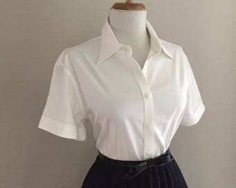 Vintage 1950s Style Blouse + Retro Short Sleeve Shirt + Button Down Top + Mad Men Pin Up Shirt + Brooks Brothers