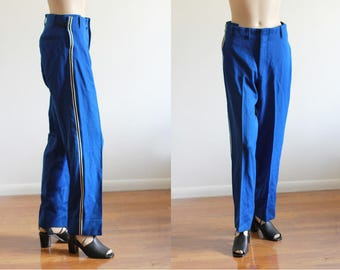 """Vintage 70's Ladies Marching Band Pants / Stripe down side / High Waisted / 30"""" W"""