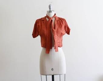 Vintage Classic Silk Oscar De La Renta Cropped Jacket with Scarf / S M