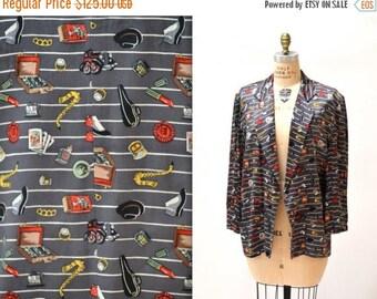 SALE 90s Vintage Nicole Miller Silk Jacket with Chicago Gangster Musician Print  // Mens Womens Vintage Silk Printed Jacket Blazer